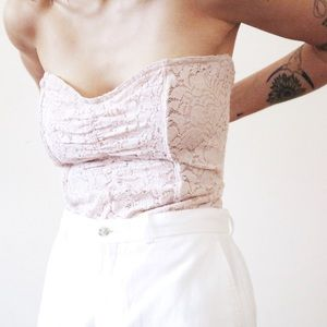 Free People pale pink lace corset